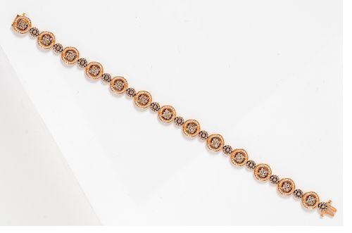 A 14 Karat Rose Gold, Diamond and Colored Diamond Bracelet, Le Vian,