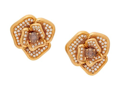 A Pair of 18 Karat Rose Gold, Colored Diamond and Diamond Flower Motif Earclips, Le Vian,