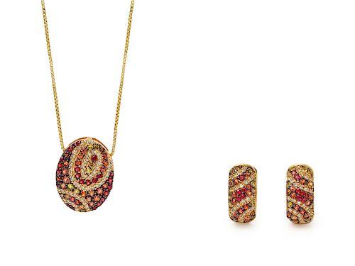 A 14 Karat Yellow Gold, Diamond and Multicolored Gemstone Demi-Parure,