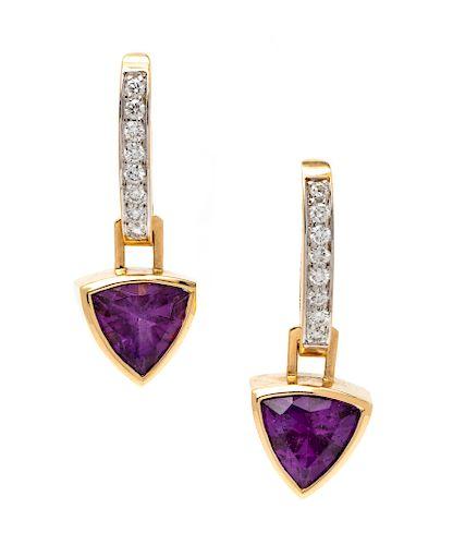 A Pair of 14 Karat Bicolor Gold, Amethyst and Diamond Convertible Earrings,