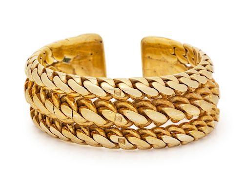 A 14 Karat Yellow Gold Cuff Bracelet,