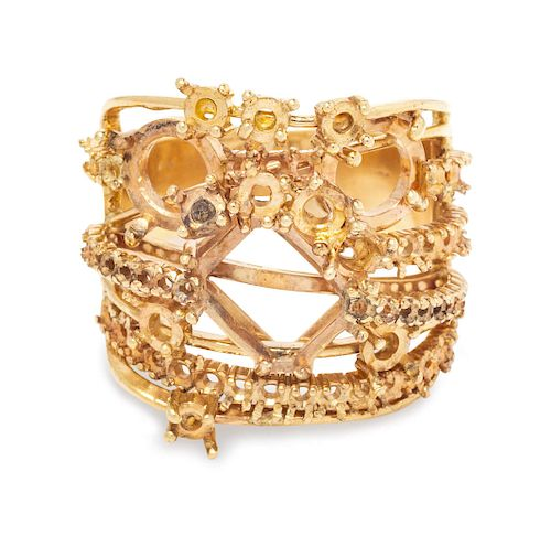 A Yellow Gold Mounting and Loose Diamonds,
