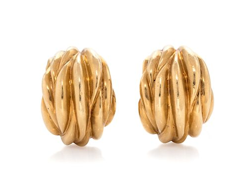 A Pair of 18 Karat Yellow Gold Earclips, Tiffany & Co.,
