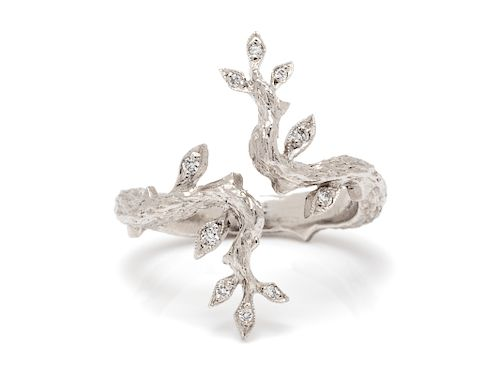 A Platinum and Diamond 'Branch' Ring, Cathy Waterman,