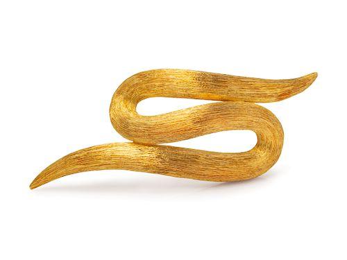 An 18 Karat Yellow Gold Brooch, Henry Dunay,