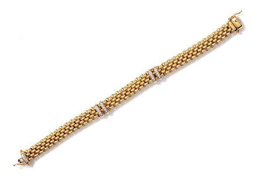 An 18 Karat Bicolor Gold and Diamond Bracelet, FOPE,