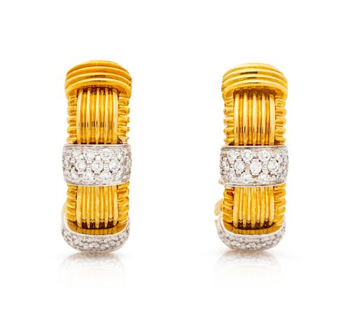 A Pair of 18 Karat Bicolor Gold and Diamond 'Appasionata' Hoop Earclips, Roberto Coin,