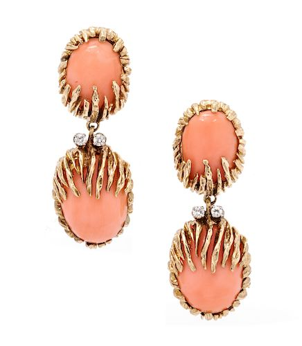 A Pair of 14 Karat Yellow Gold, Coral and Diamond Earclips,