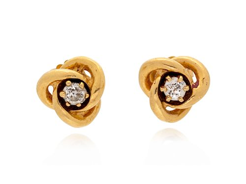 A Pair of Yellow Gold and Diamond Stud Earrings and Jackets,