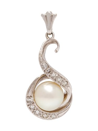A White Gold, Cultured Pearl and Diamond Pendant,