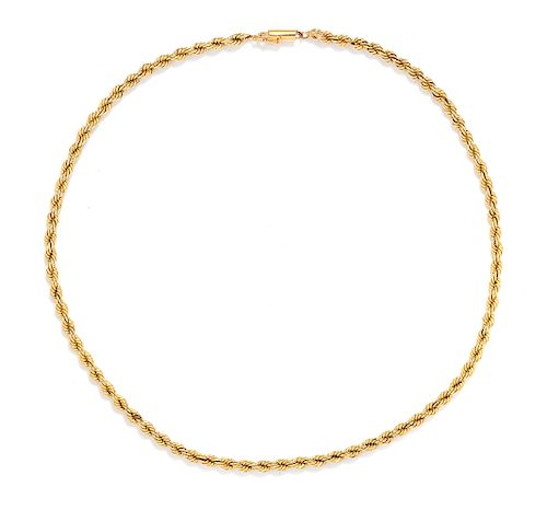 A 14 Karat Yellow Gold Rope Chain Necklace,