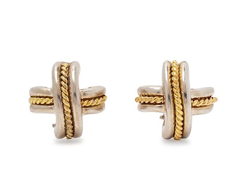 A Pair of Sterling Silver and 18 Karat Yellow Gold 'X' Earclips, Tiffany & Co., Circa 1990,