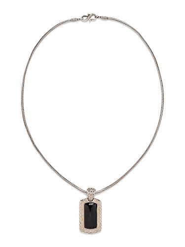 A Sterling Silver, Onyx and Diamond 'Classic Chain' Pendant/Necklace, John Hardy,