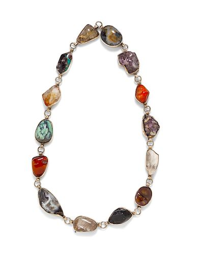 A Silver, Gemstone and Hardstone Necklace,