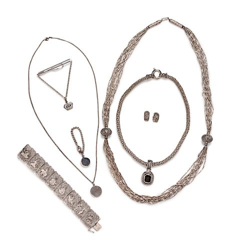 A Collection of Silvertone and Silver Jewelry,
