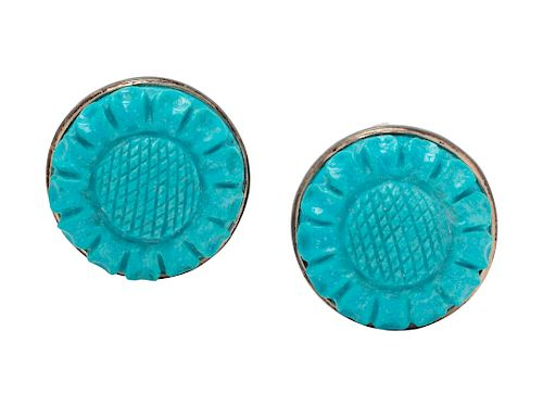 A Pair of Sterling Silver and Turquoise Flower Motif Earclips, Stephen Dweck,
