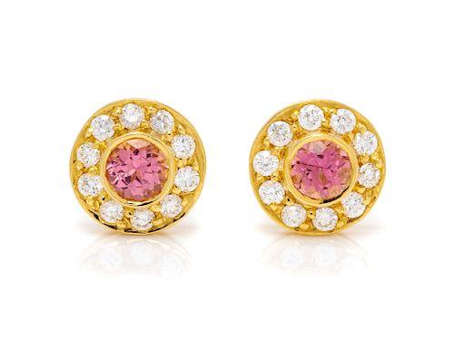 A Pair of 18 Karat Yellow Gold, Pink Tourmaline and Diamond Earrings, Tiffany & Co.,