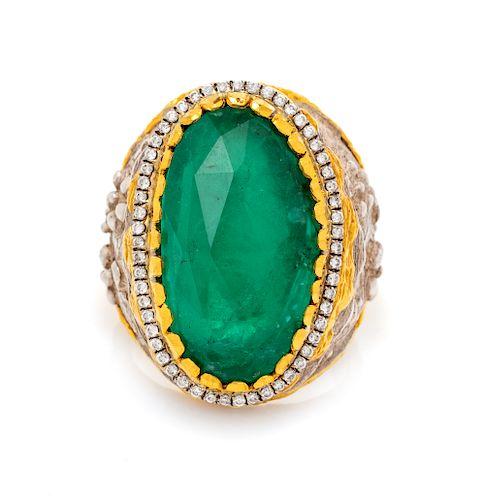 A Sterling Silver, 24 Karat Gold, Assembled Gemstone and Diamond Ring, Victor Velyan,