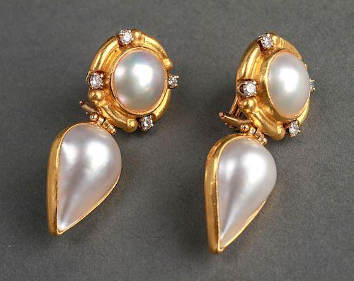 22K Gold Diamonds & Mabe Pearls Dangle Earrings Pr