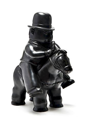"After Fernando Botero ""Man on Horse"" Bronze"