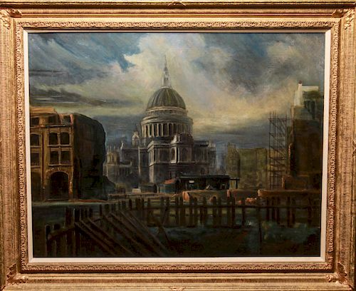 """K. G. Somers-Yeates """"St Paul's"""" Oil on Canvas"""