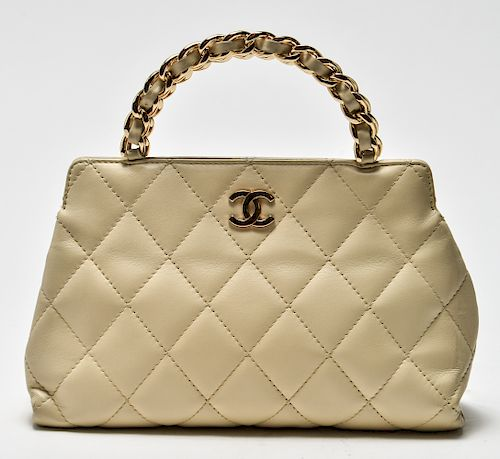 Chanel Vintage Quilted Cream Leather Purse