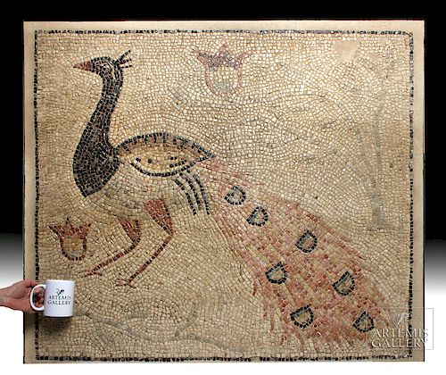 Large Roman Stone Mosaic w/ Elegant Peacock