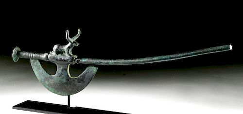 Near Eastern Copper Ceremonial Axe with Bull
