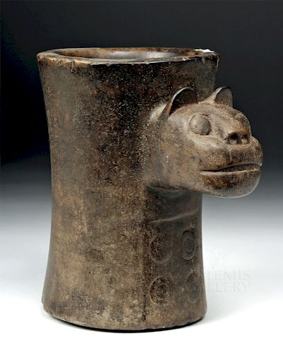 Important Tiwanaku Stone Kero w/ Jaguar & Spots