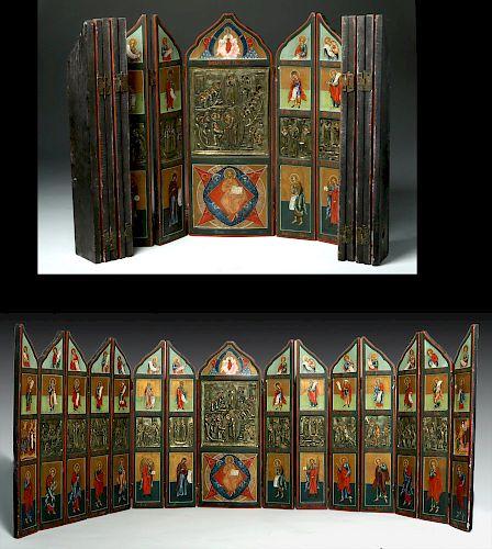 18th C. Russian Painted Wood Iconostasis, Bronze Oklads