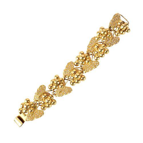 Vintage 18K Gold and Diamond Grape Vine Bracelet