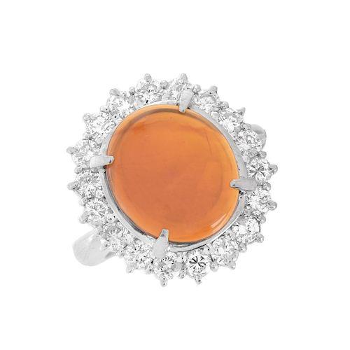 Opal, Diamond and Platinum Ring