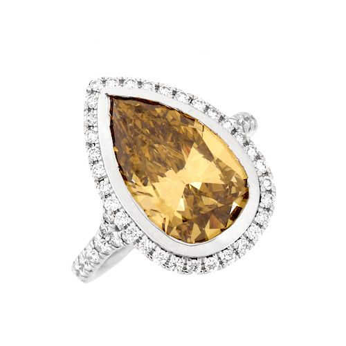 4.05ct Fancy Champagne Diamond and 14K Ring