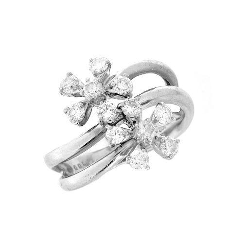 Diamond and Platinum Flower Ring
