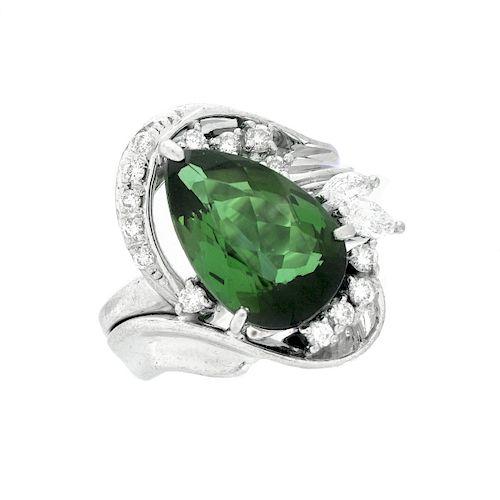 Green Tourmaline, Diamond and Platinum Ring