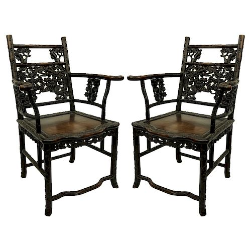 Pair of 19th C. Chinese Carved Wood Throne Chairs