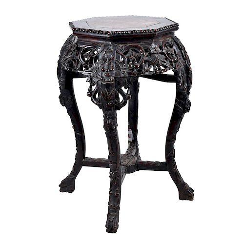 19th Century Chinese Craved Hardwood Pedestal