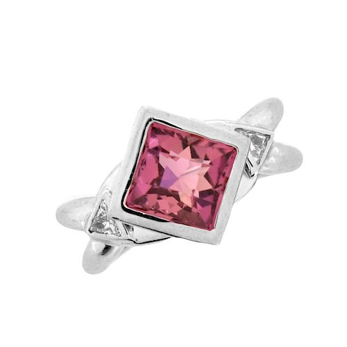 Pink Tourmaline, Diamond and Platinum Ring