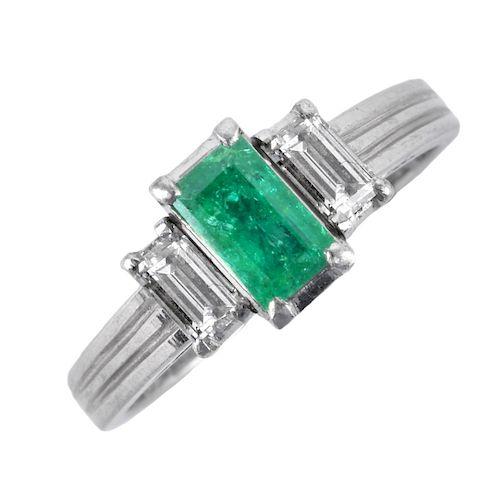 Emerald, Diamond and Platinum Ring