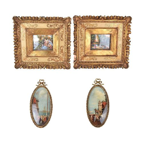Four (4) Continental Miniature Paintings