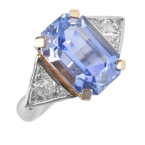 Sapphire, Diamond, Platinum and 18K Ring