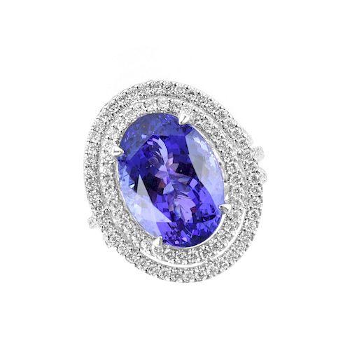 Tanzanite, Diamond and 18K Ring