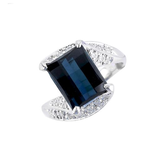 London Topaz, Diamond and Platinum Ring