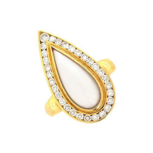 Mother Of Pearl, Diamond 18K Gold Teardrop Ring