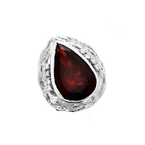 Large Pear Garnet and Diamond, Platinum Ring