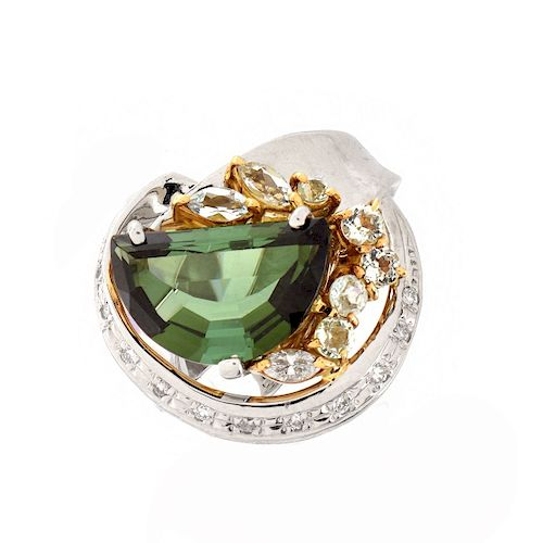 Green Tourmaline, Diamond, 18K and Platinum Ring