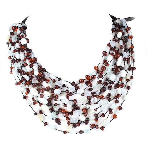 Eva Nueva Amber and Quartz Necklace