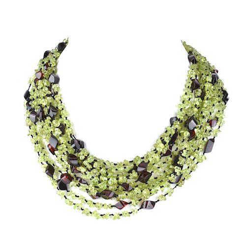 Eva Nueva Amber and Peridot Necklace
