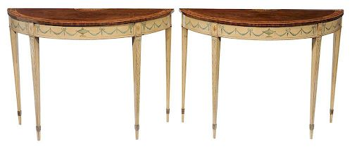 Pair George III Marquetry-Inlaid and