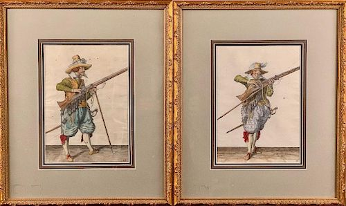 Two 18thc. Handcolored Engravings, British Cavaliers